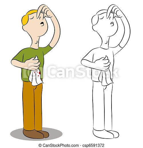 Man Holding Nose - csp6591372