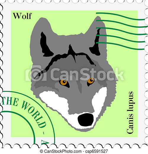 vector stamp with wolf - csp6591527