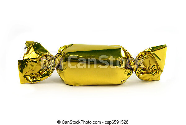 Single gold candy isolated - csp6591528