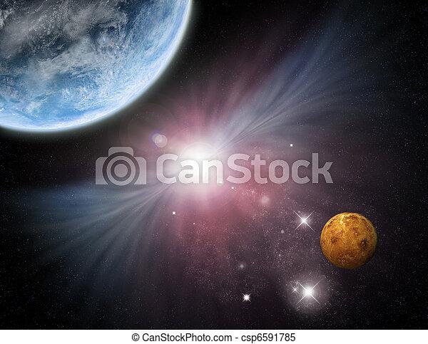 Universe - starfield planets and nebula - csp6591785
