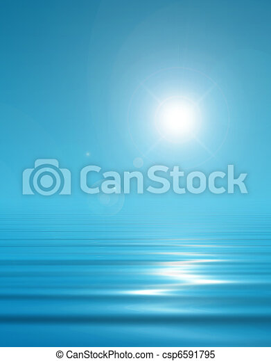 Magical blue background sky and peaceful water - csp6591795
