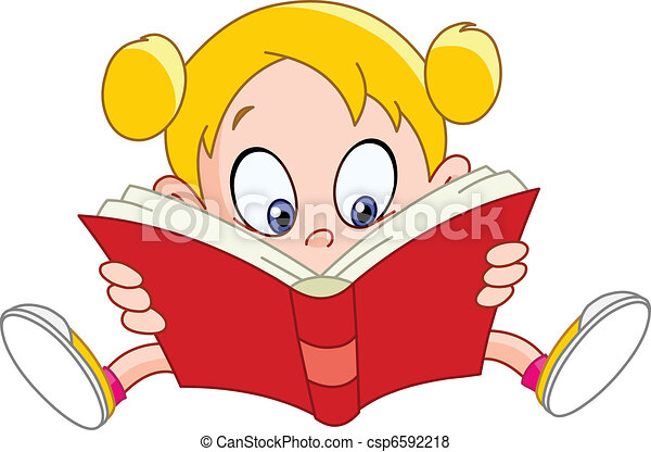 Girl reading book - csp6592218