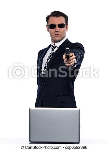 man hacker computing white collar crime - csp6592396