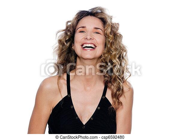 Beautiful expressive curly hair Woman - csp6592480