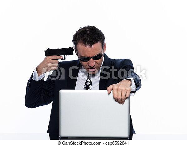 man hacker computing white collar crime - csp6592641