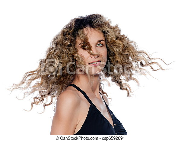 Beautiful expressive curly hair Woman - csp6592691