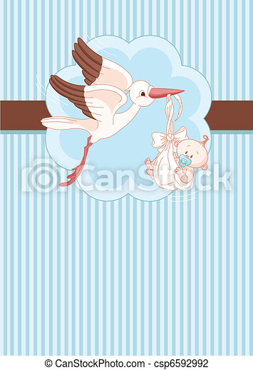 Stork and Baby boy place card - csp6592992