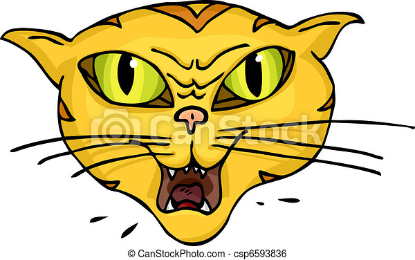 Clip Art Vector of Cat Hiss - Angry green-eyed striped cat ...