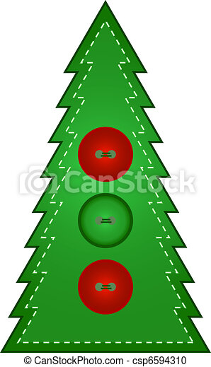 Country Christmas Tree - Buttons - csp6594310