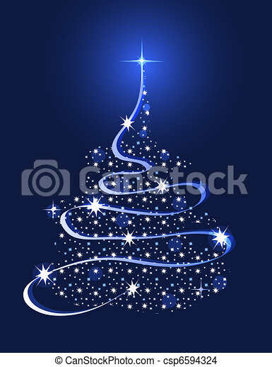 Christmas Tree with Stars - csp6594324