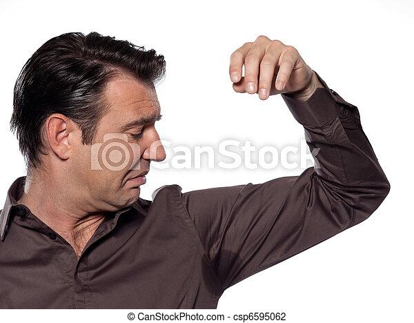 Man Portrait sweat perspiring - csp6595062