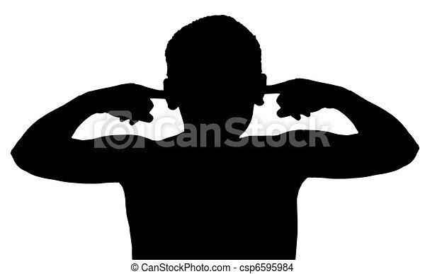 Isolated Boy Child Gesture Not Listening - csp6595984