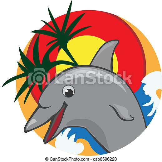 Jumping dolphin with palms - csp6596220