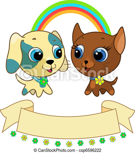Cute puppy and kitten friendship - csp6596222