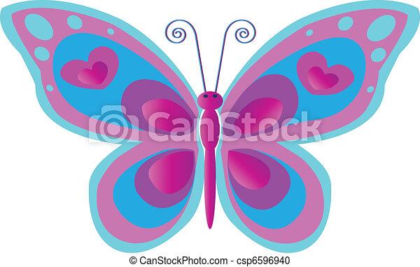 Vector Clip Art de mariposa, rosa - mariposa, puntos, azul, rosa ...