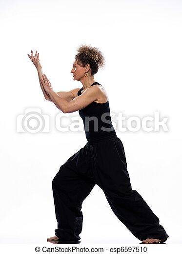 woman tai chi chuan tadjiquan posture pose position - csp6597510