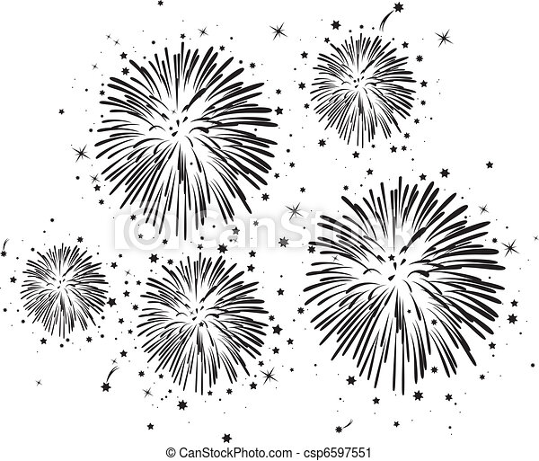 vector black and white fireworks background with stars - csp6597551