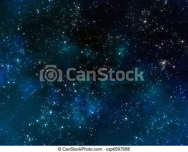 space with blue nebula clouds - csp6597688