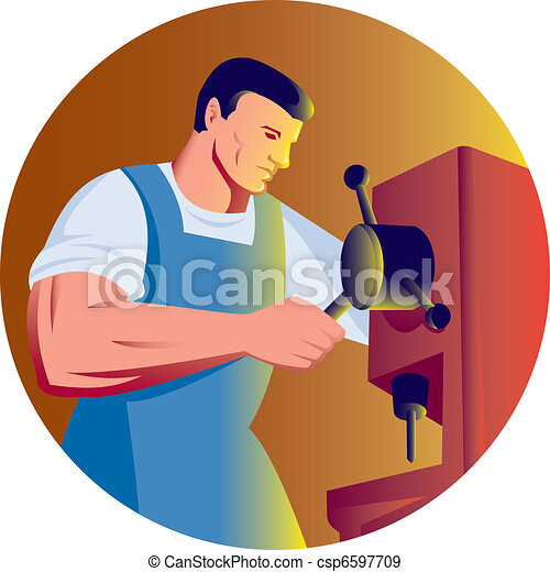 trade factory worker working with drill press - csp6597709