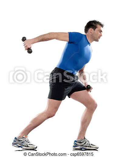 man doing workout Lunges Triceps Extension on white isolated background. Start standing up straight. Hold the weights in front of you at waist height by keeping the elbows flexed and to your side. W - csp6597815