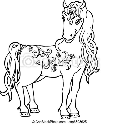 Sketch Doodle Magic Horse  - csp6598625