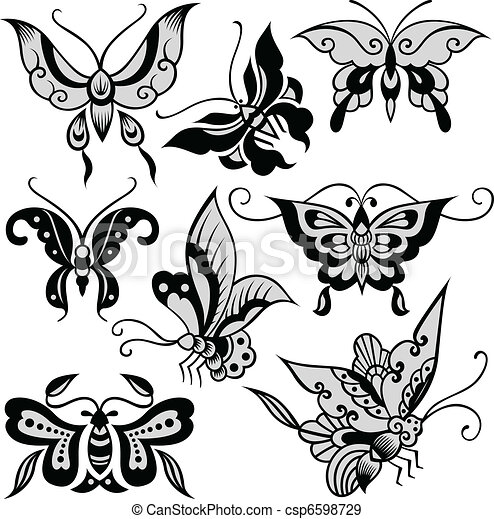 fancy butterfly illustration - csp6598729