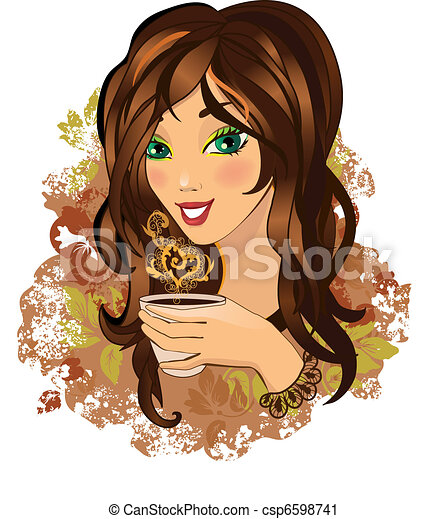 Young female drinking hot coffee - csp6598741