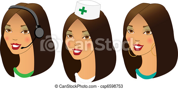 different women profession avatars - csp6598753