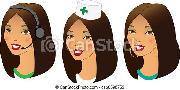 different women profession avatars - csp6598753