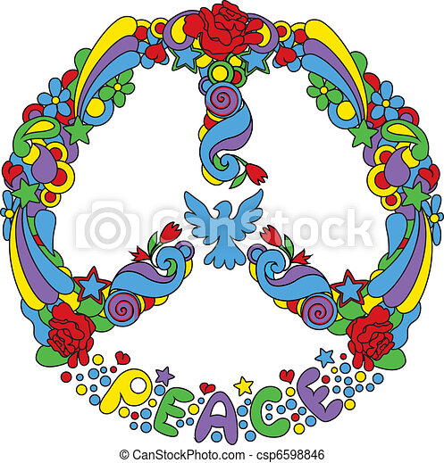 Peace symbol  with flowers  - csp6598846
