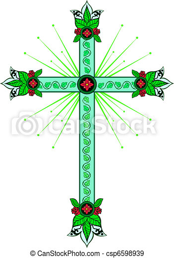 Cross with decorative tips - csp6598939