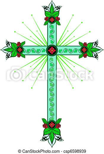 Cross with decorative tips - csp6598939