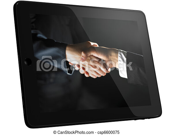 Handshake, Handshaking on Tablet PC Computer - csp6600075