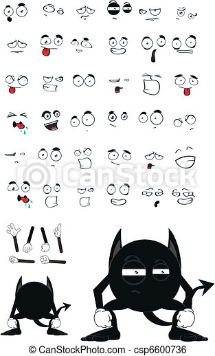 demon black cartoon set - csp6600736