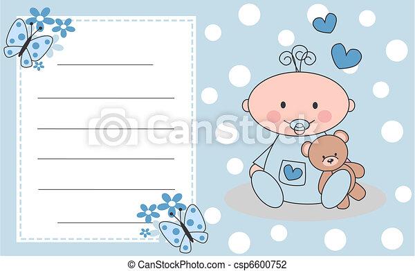 celebración, o, invitación, tarjeta, recién nacido, bebé, niño