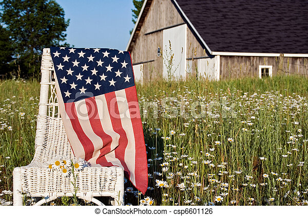 American flag on chair - csp6601126
