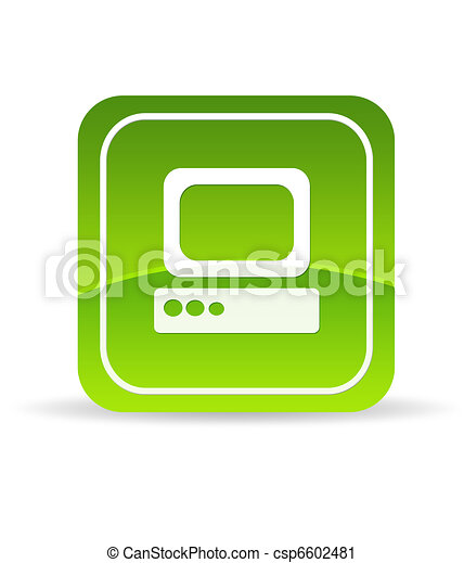Green Computer Icon - csp6602481