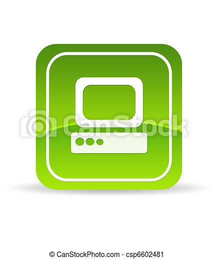 Green Computer Icon - csp6602481