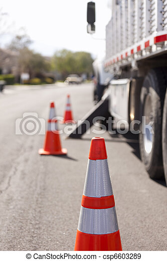Orange Hazard Safety Cones and Work Truck - csp6603289