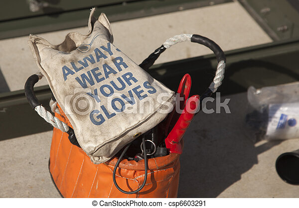 Always Wear Your Gloves Electricians Work Bag - csp6603291