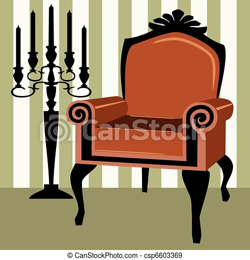 Interior scene with armchair - csp6603369