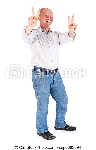 Portrait of old man showing victory sign - csp6603694