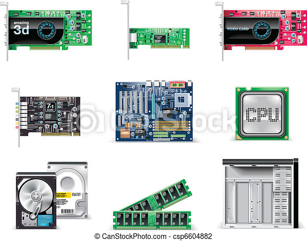 Clip Art Vector of Vector detailed computer parts icon - Set of ...