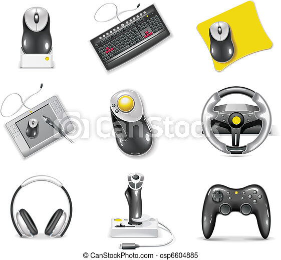 Vector white computer icon set.  - csp6604885