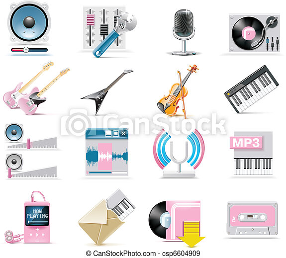 Vector audio and music icon set - csp6604909