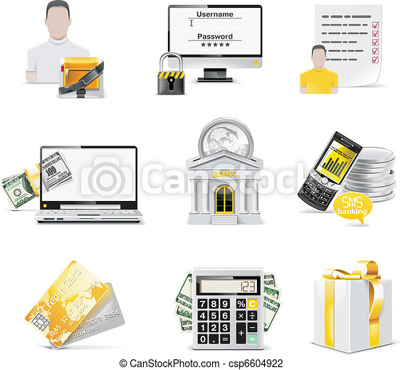 Vector online banking icon set.  - csp6604922