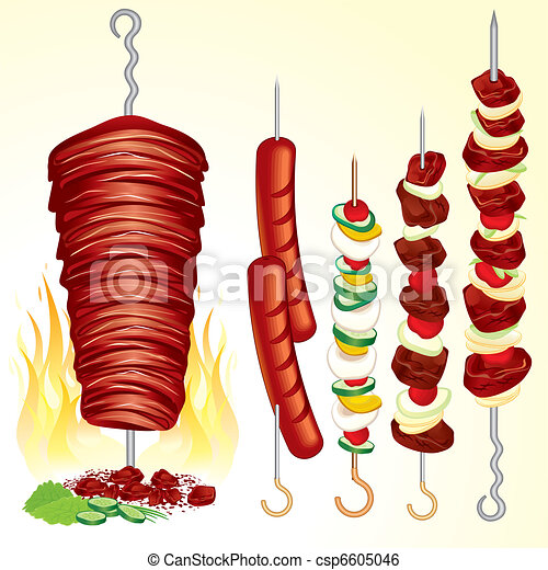 Clip Art Vector of Kebabs and Grilled Meat csp6605046 - Search ...