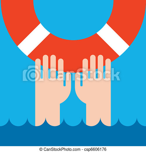 life buoy and hands - csp6606176
