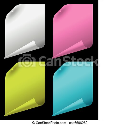 sheets of color paper with curled corners - csp6606269