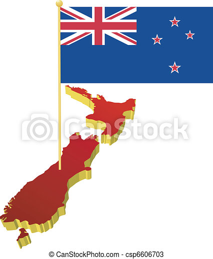 New Zealand with the national flag - csp6606703